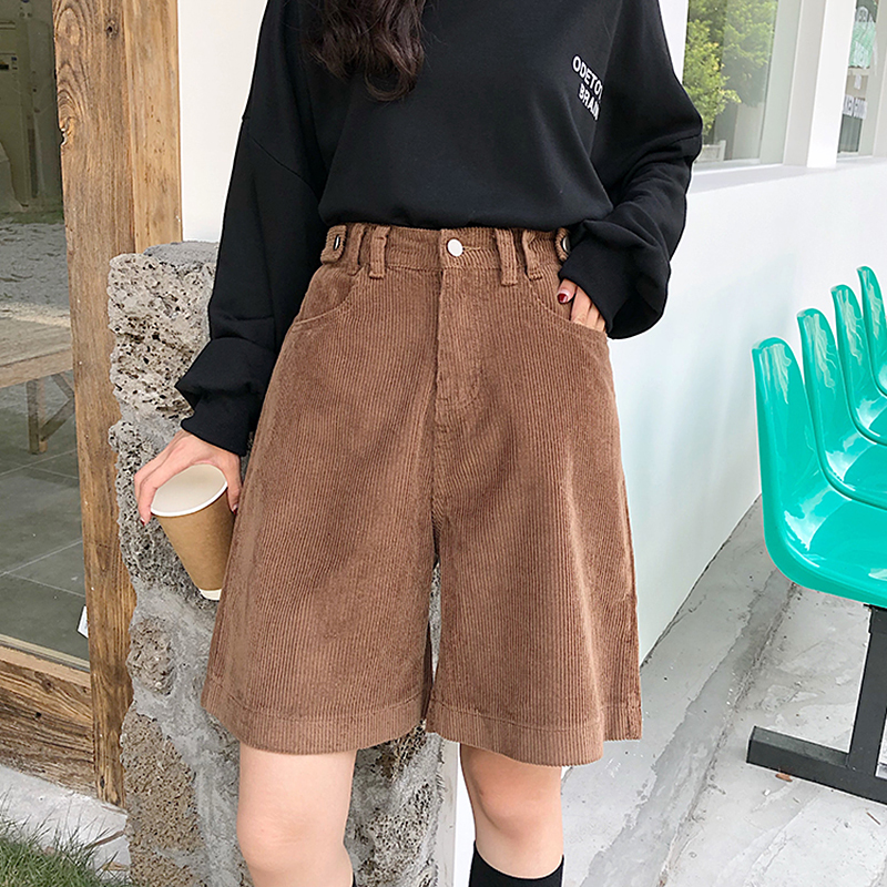 Streetwear Corduroy Shorts Women Autumn Winter Korean Vintage High Waist Wide Leg Shorts Ladies Plus Size Loose Short Femme