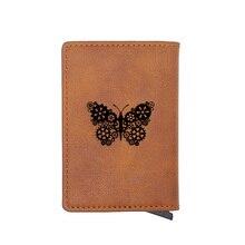 Retro Gear Butterfly Steampunk Credit Card Holder Wallet Classic Pu Leather  Men Women Slim Small Credit Card Short Purse