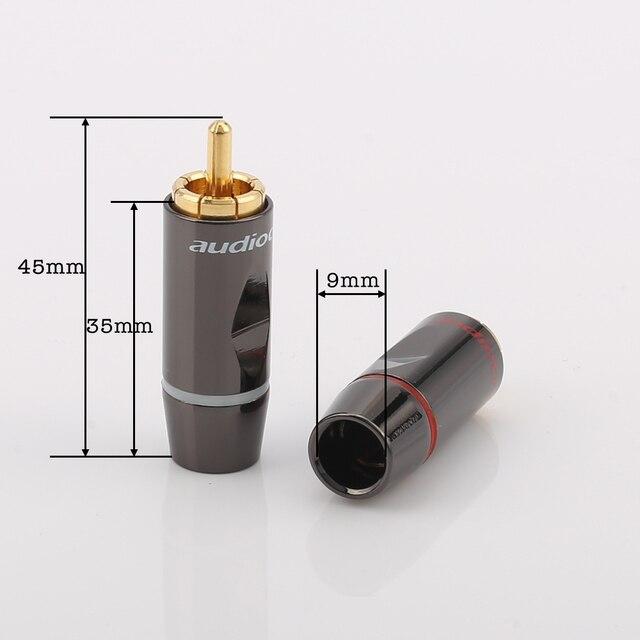 Conectores RCA chapados en oro de soldadura, conectores RCA chapados en oro, conector RCA macho de Audio, 4 unidades, R003 24k