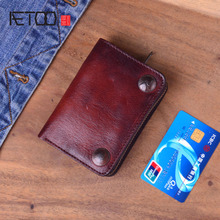 AETOO Genuine Crazy Horse Leather Men Wallets Vintage Trifold Wallet Zip Coin Pocket Purse Cowhide Leather Wallet For Mens new brand contact s crazy horse genuine real natural cow leather brown coin trifold wallet pocket purse dollar price for men