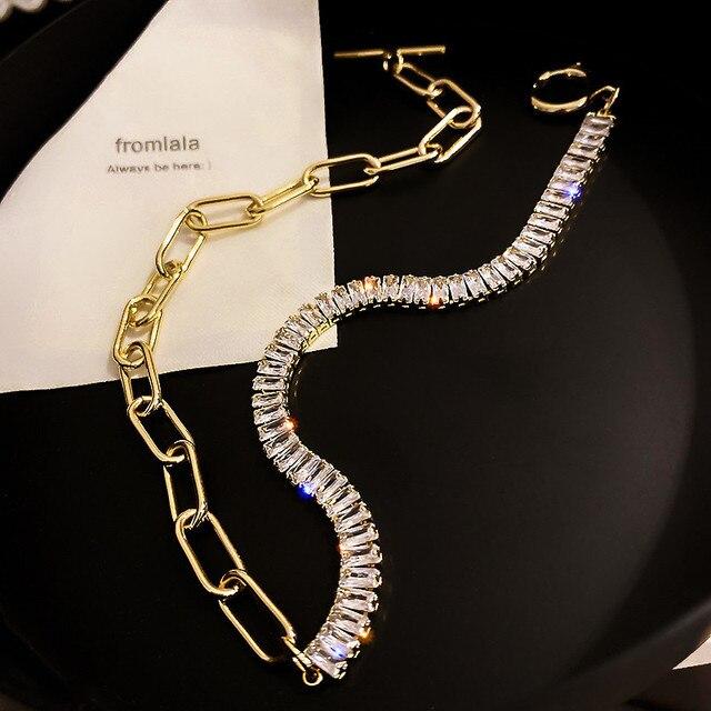 Crystal Choker Necklaces Geometric Statement Jewelry  3