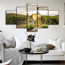 Laeacco 5 Panel Canvas Painting Wine Cellar Champagne Decor Posters and Prints Wall Artwork Kitchen Home Living Room Decoration