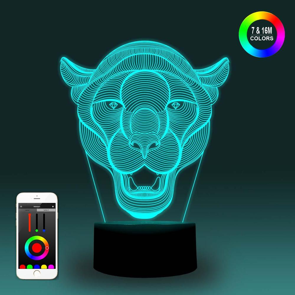 NiteApps 3D Leopard Head Night Light Desk Table Illusion Decoration Lamp Holiday Birthday Gift APP/Touch Control