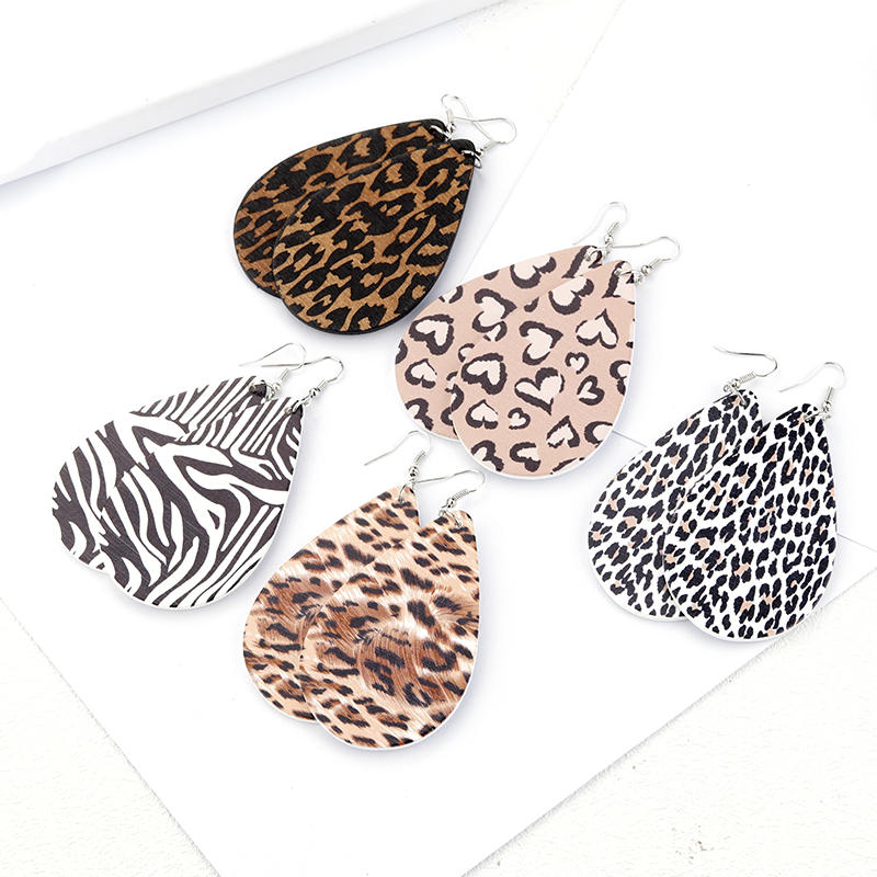 Lifefontier Simple Leopard Print Wood Drop Earrings Multicolor Wooden Water Teardrop Earrings for Women Gift Jewelry
