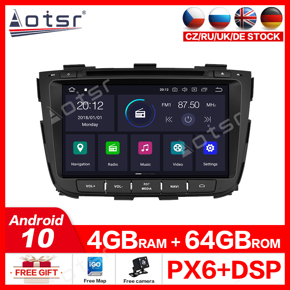 For KIA SORENTO 2012 2013 2014 2015 Built-in DSP Car stereo radio tape recorder Android 10.0 GPS navigation Car DVD Multimedia image