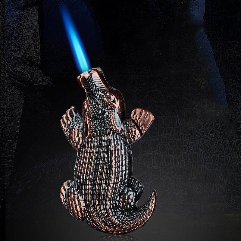 Купить забавная металлическая газовая зажигалка «крокодил» струйфонарь