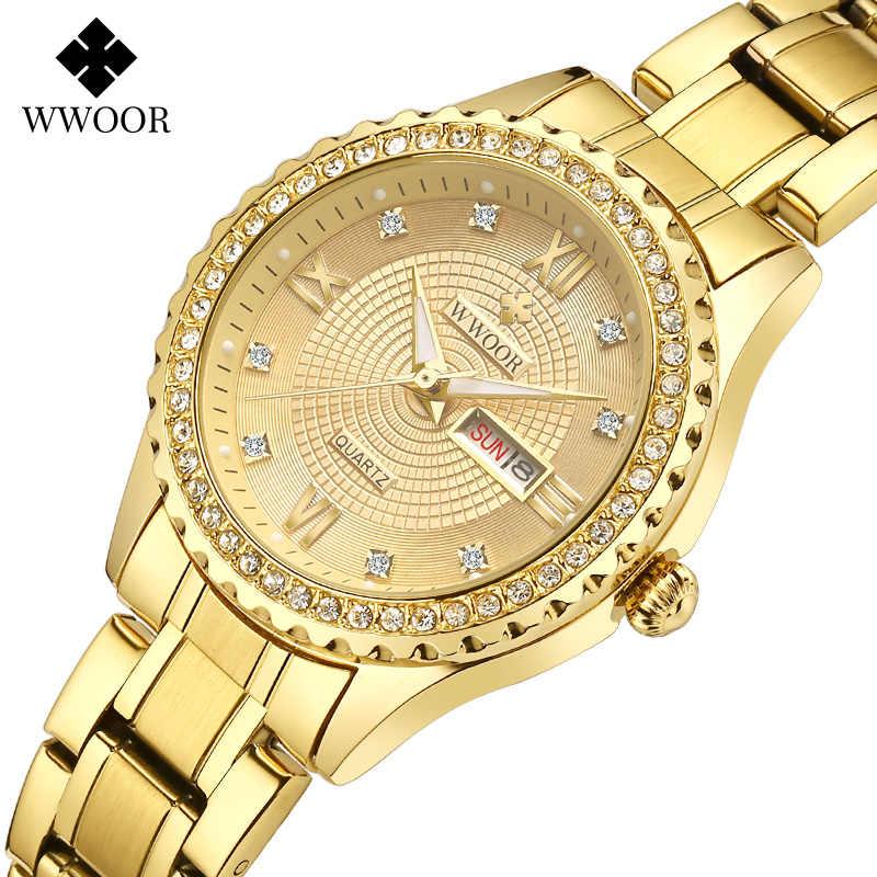 Relógio wwoor de diamante feminino, marca de luxo relógios da moda feminina relógio de ouro data relógio de quartzo elegante pulseira