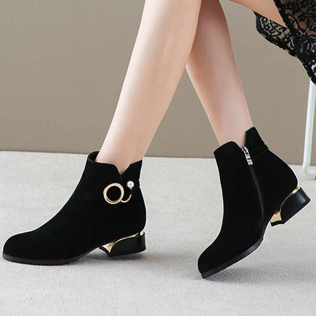 Women Ankle Boots Flock Zipper Solid Short Boots Low Square Heel Single Shoes Keep Warm Winter Booties Botas Mujer Invierno 2019
