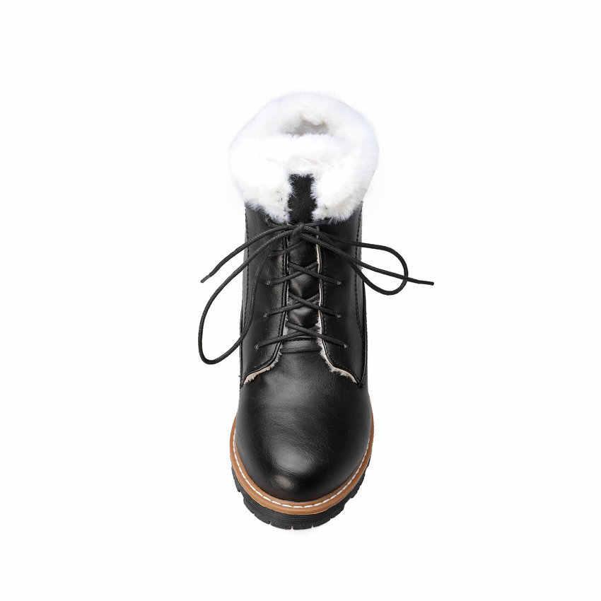 QUTAA 2020 Yeni Sonbahar Kış Sıcak Kürk Antiskid ayak bileği bağcığı Çizmeler Kare Topuk PU Deri Yuvarlak Ayak Rahat Kadın Ayakkabı Size34-43