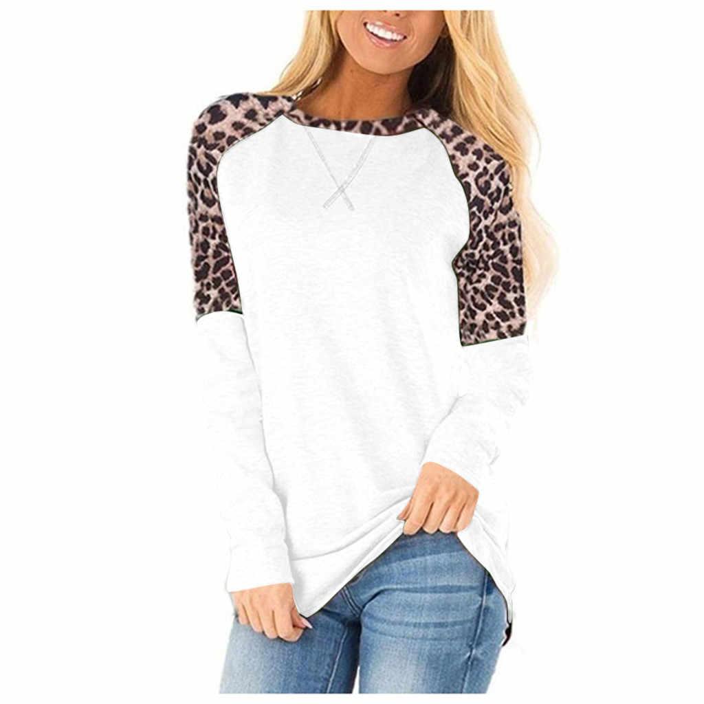 Camiseta de mujer con estampado de leopardo, moda de invierno, costura redonda, Patchwork, camiseta Casual para mujer, camiseta grande para mujer