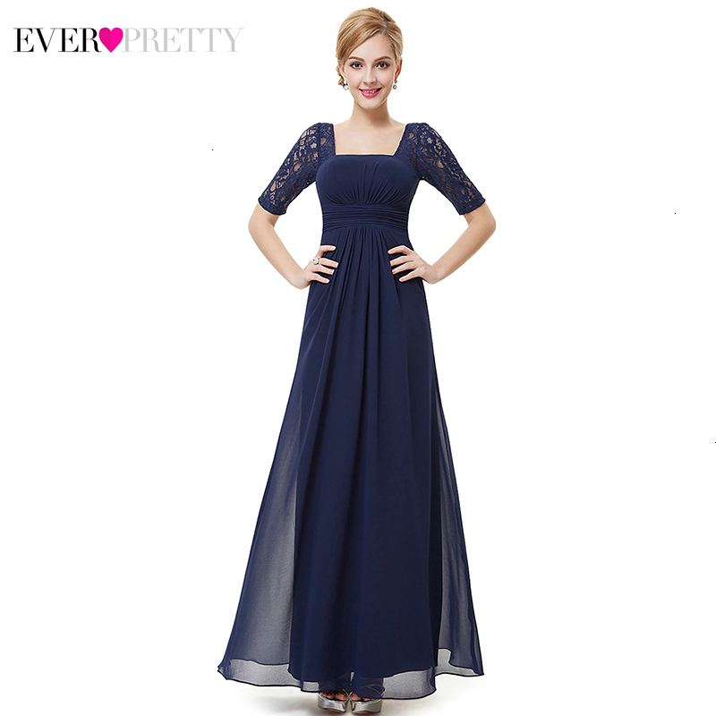 Elegant Evening Dresses Long Ever Pretty A-Line Square Collar Half Sleeve Cheap Chiffon Formal Party Gowns Długa Sukienka 2019