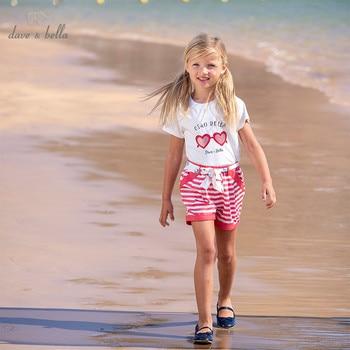 DKS13576 Dave bella verano rayado para niñas arco carta ropa conjuntos niños trajes encantadores ropa infantil para bebés niñas atuendo