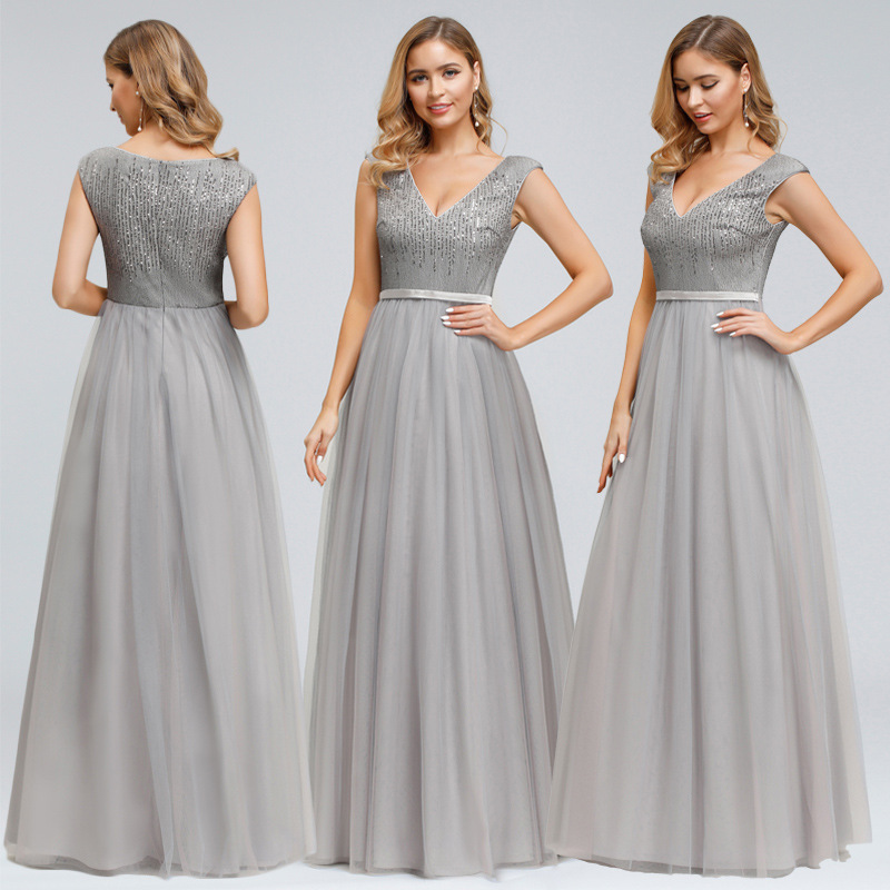 Formal Evening Dresses Gray A-Line Women Party Dress R179 V-Neck Lace Top Elegant Banquet Vestido Sleeveless Tank Robe De Soiree