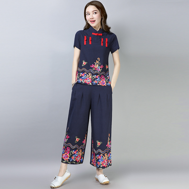 2019 Ethnic-Style New Style Cotton Linen WOMEN'S Suit Summer Elegant Chinese Style Retro Embroidered-Style Two-Piece Women's