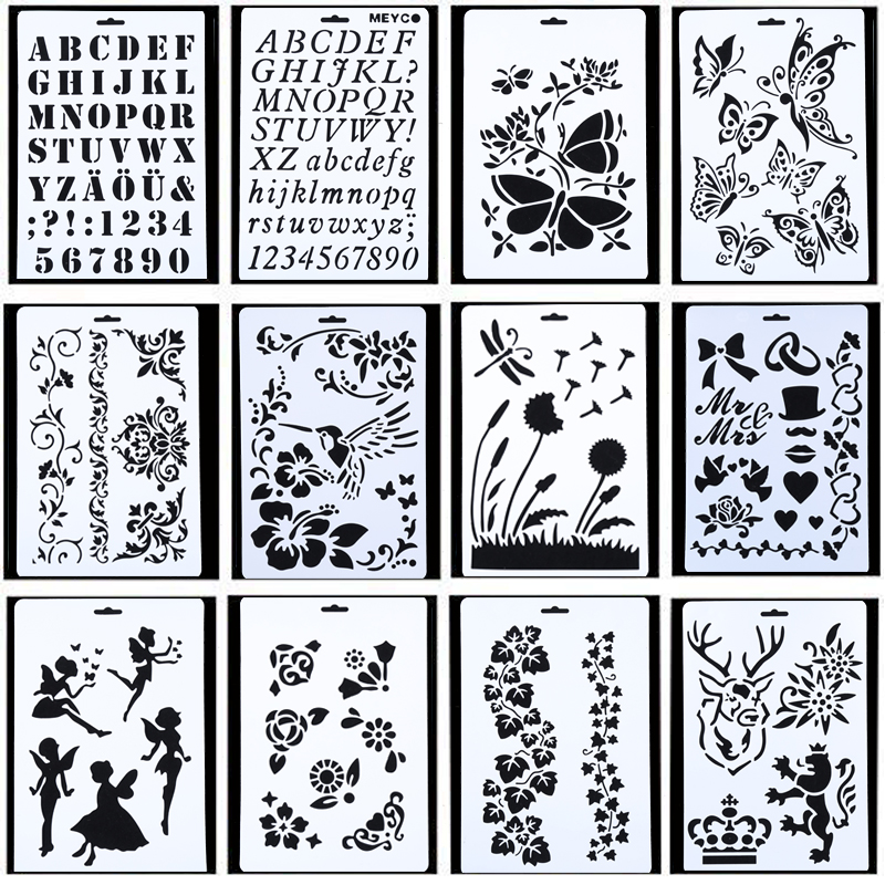 10Pcs Drawing Painting Stencils Scale Template Set 8.3 X 11.7 Inch, Plastic Shape Scrapbook Stencils Graphics Stencils For Child