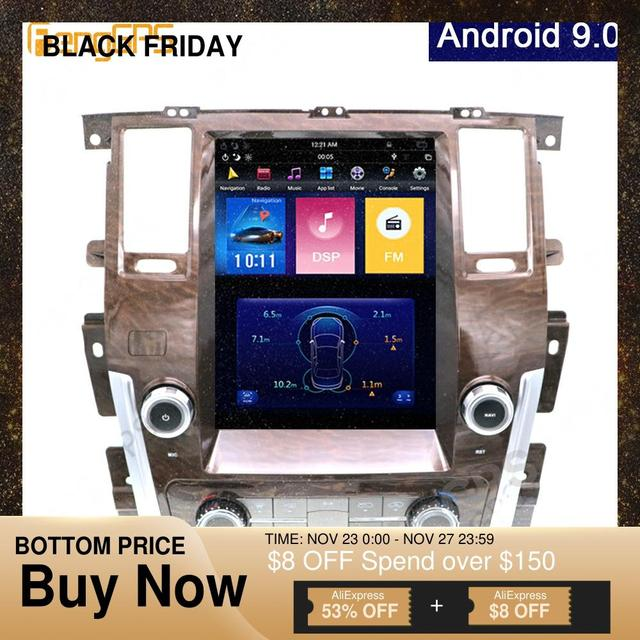 12.1Inch Android 9.0 Tesla Vertical Screen For NISSAN PATROL 2010 2018 Car Player GPS Navigation Multimate Audio System FM Unit