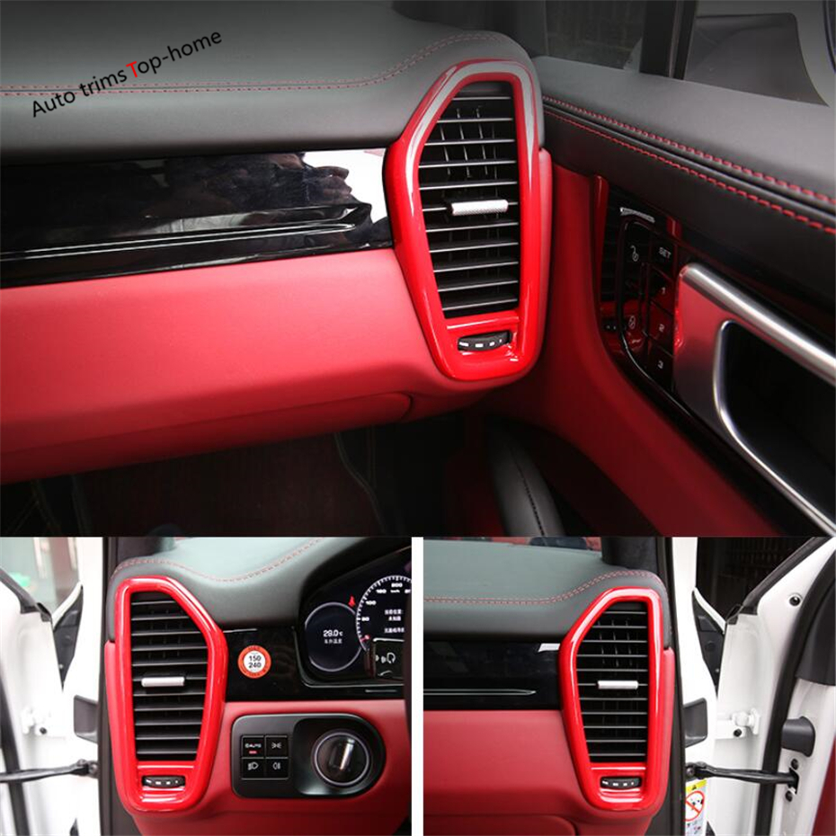 Yimaautotrims Red Carbon Fiber Look Interior For Porsche Cayenne 2018 2019 2020 Dashboard Side Air Ac Vent Outlet Cover Trim Interior Mouldings Aliexpress