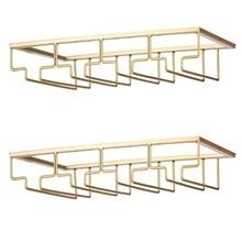 Storage-Hanger Glasses Metal-Organizer Cabinet Wine Gold Rack-Under Stemware 2-Packs