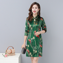 Chinese Style Women Oriental Qipao Dresses Green Red Flower Printing Mandarin Collar Robe Femme Long Sleeve Vintage Dress Woman 2019 chinese traditional dress qipao women mandarin collar chinese cheongsams qipao oriental dresses embroidery qipao