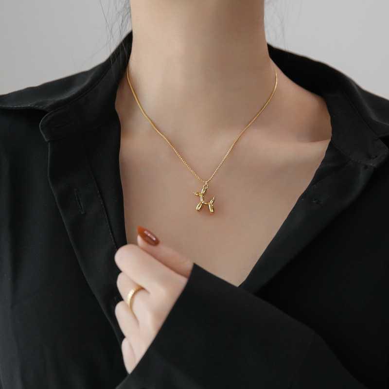 バルーン犬のネックレスステンレス鋼ゴールドポップコーンチェーン鎖骨珍味かわいいネックレス卸売エレガントな