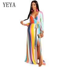YEYA  Autumn Floor-length Dress Women Elegant Long Vintage Print Striped Female Hollow Out Party Maxi Dresses