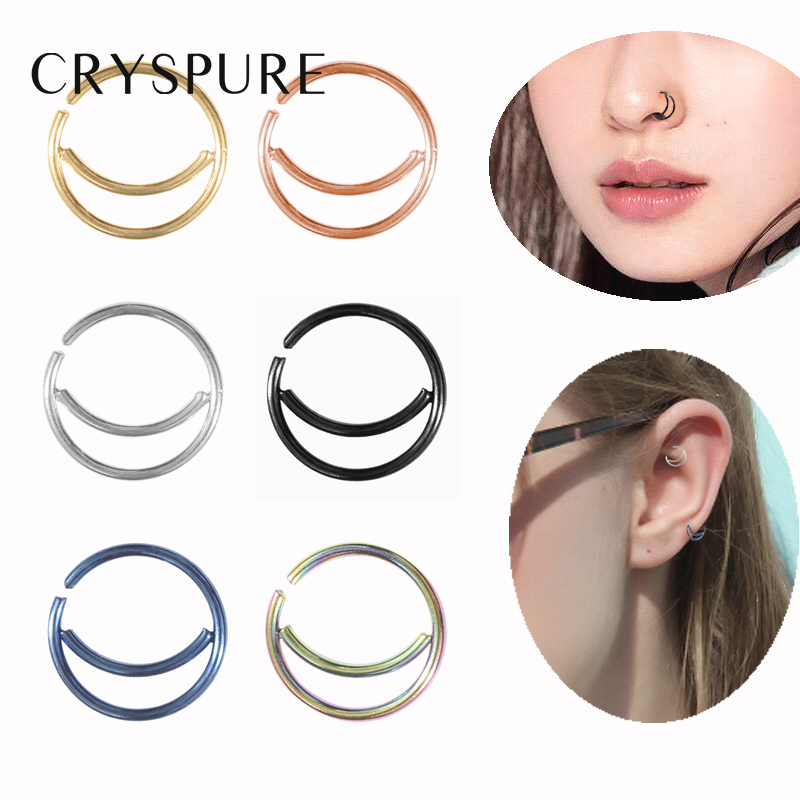 6 Pcs Moon Nose Ring Hoop 20 Gauge Non Piercing Stainless Steel