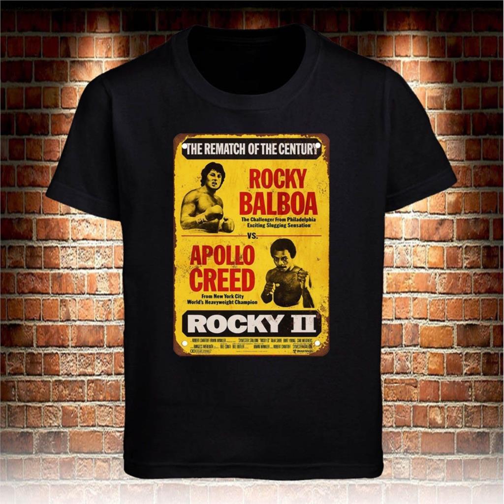 Black T-Shirt Rocky Balboa vs Apollo Movie Vintage Men's Grey Tee cotton Cool Casual pride t shirt men Unisex sbz4575