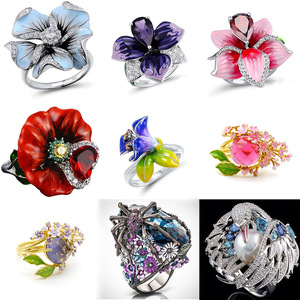 Fashion Silver Enamel Big Flower Wedding Rings for Women Unique Swan Cubic Zirconia Engagement Ring Female Party Boho Jewelry(China)