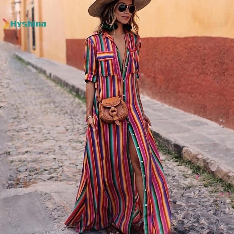 Autumn And Winter Colorful Stripe Printed Bohemian Dress Long Women