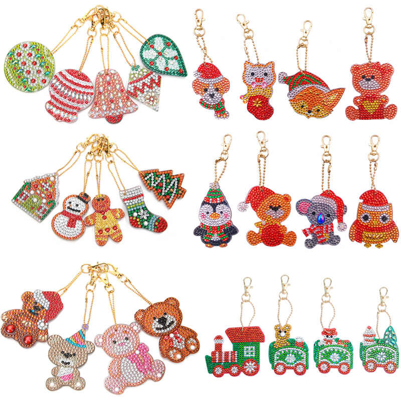 4/5Pcs DIY Special-shaped Diamond Paintng Full Drill Xmas Penguin Key Chains Christmas Gift for Kids Craft