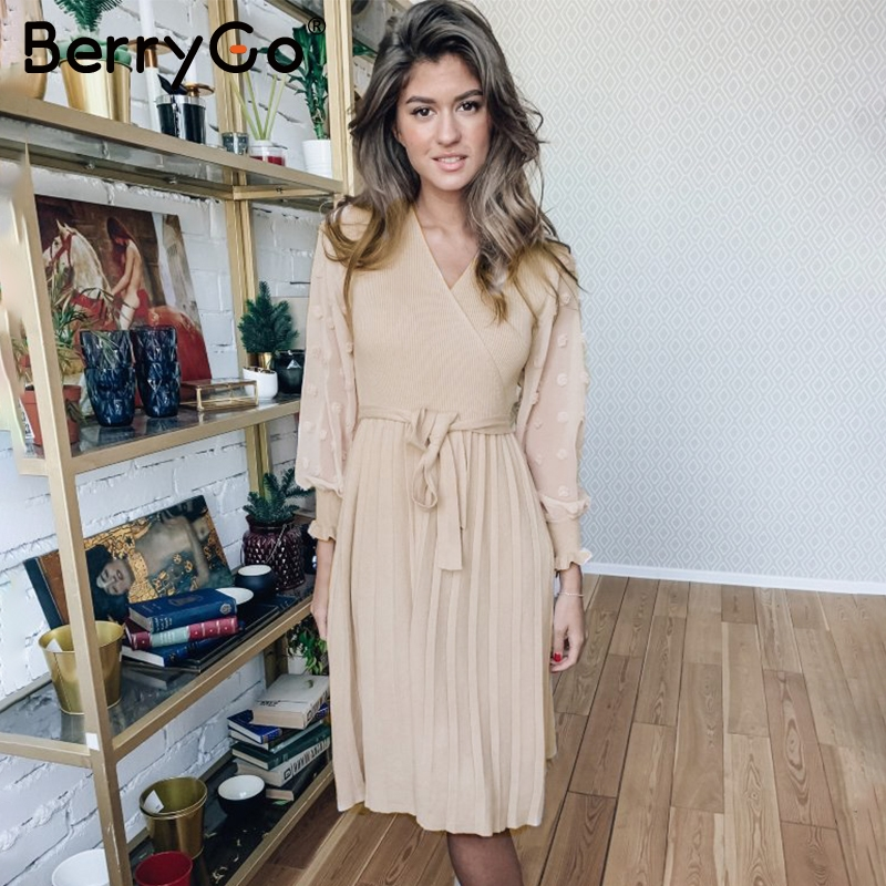 Image 2 - BerryGo Ruffle long sleeve knitted dress women V neck sashes female pleated dresses High waist luxury autumn winter office dress-in Dresses from Women's Clothing