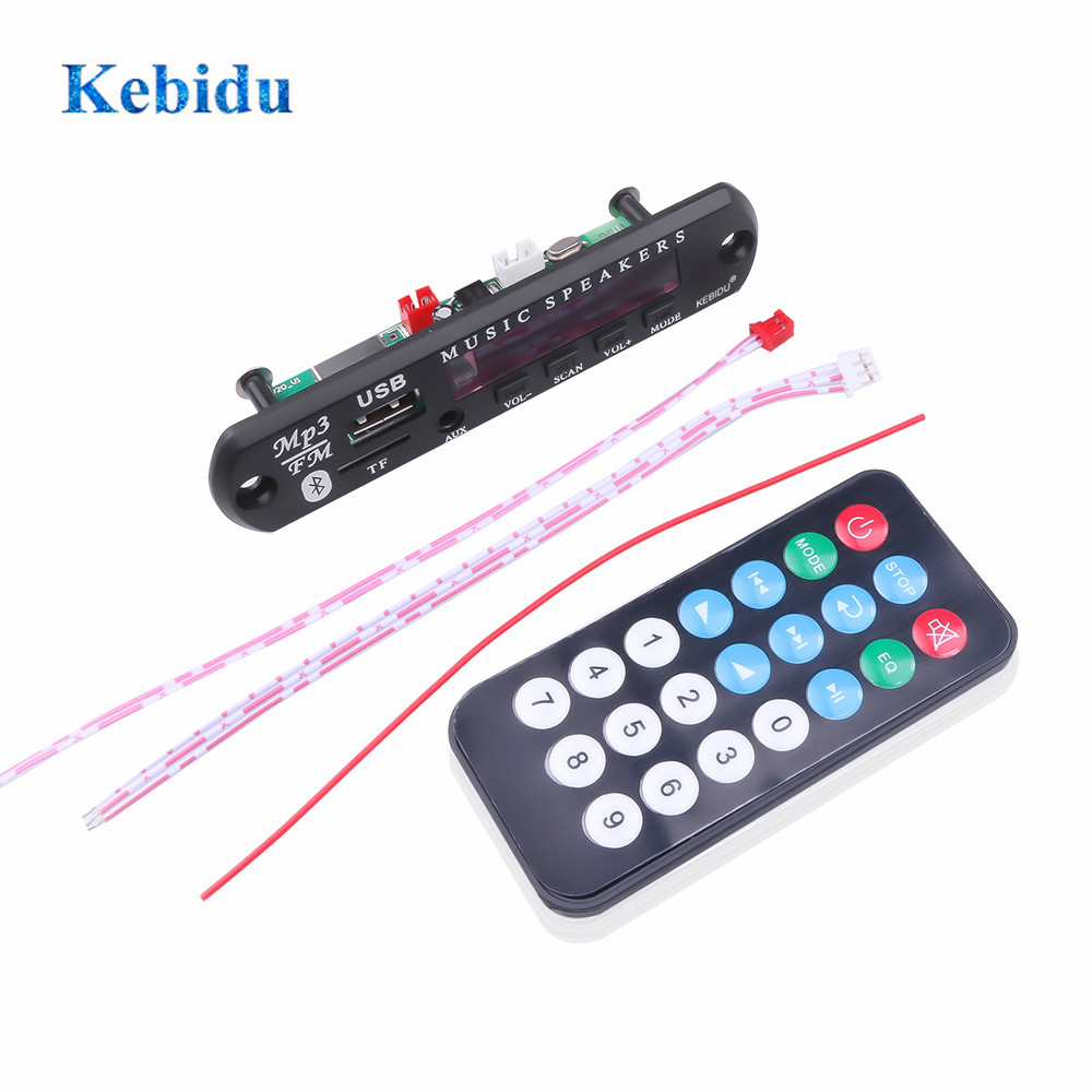 KEBIDU Bluetooth MP3 Decoder Board MP3 Card Reader Audio Player Car Accessories With USB TF FM Radio Module 5/12V Remote Control