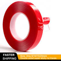 3m Red Double Sided Adhesive Tape High Strength Acrylic Gel Transparent No Traces Sticker for Car Auto Interior Fixed