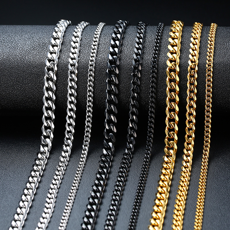 Vnox Basic Punk Stainless Steel Necklace for Men Women Curb Cuban Link Chain Chokers Vintage Black Gold Tone Solid Metal|Chain Necklaces| - AliExpress