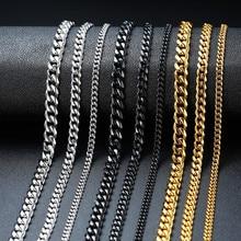 Vnox temel Punk paslanmaz çelik kolye erkekler kadınlar için Curb küba Link zinciri Chokers Vintage siyah altın ton katı Metal