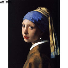Amtmbs холст картина девушка с жемчугом серьги по номерам ручная