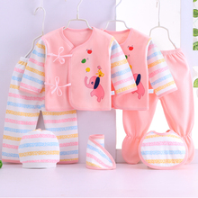 цены 7piece Newborn Baby Clothing Sets Long Sleeve 0-3M Soft Cotton  Baby Girl Boys Clothes Cartoon Infant Clothing New Born Gift Set