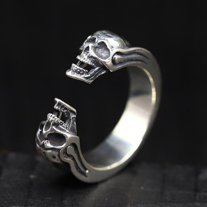 925 Silver Brilliant Retro Skull Opening Ring Retro Skull Opening Ring Male Pure Silver Punk Ring Delicate Double Skull Ring 6.5