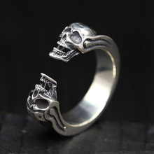925 Silver Brilliant Retro Skull Opening Ring Male Pure Punk Delicate Double 6.5