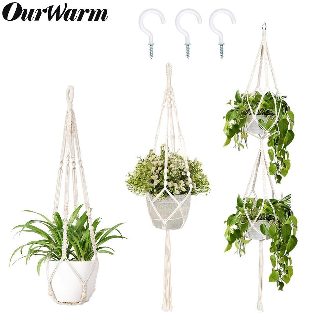 OurWarm 100% Handmade Macrame Plant Hanger Flower Pot Hanger For Wall Decoration Countyard Garden Hanging Plant