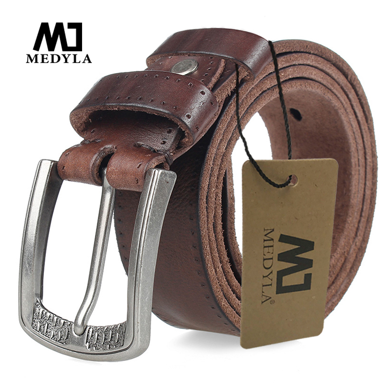 MEDYLA Men Belt 100% Cowhide Alloy Pin Buckle Blue Color Personality Choice Cowhide Male Strap Jeans Waistband Gift