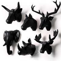 Tiere Wand Dekor 3D Deer Kopf Hirschkopf Kunst Saloon Wohnzimmer Büro Kinder Raum Weiß und Schwarz Vertraglich Hintergrund