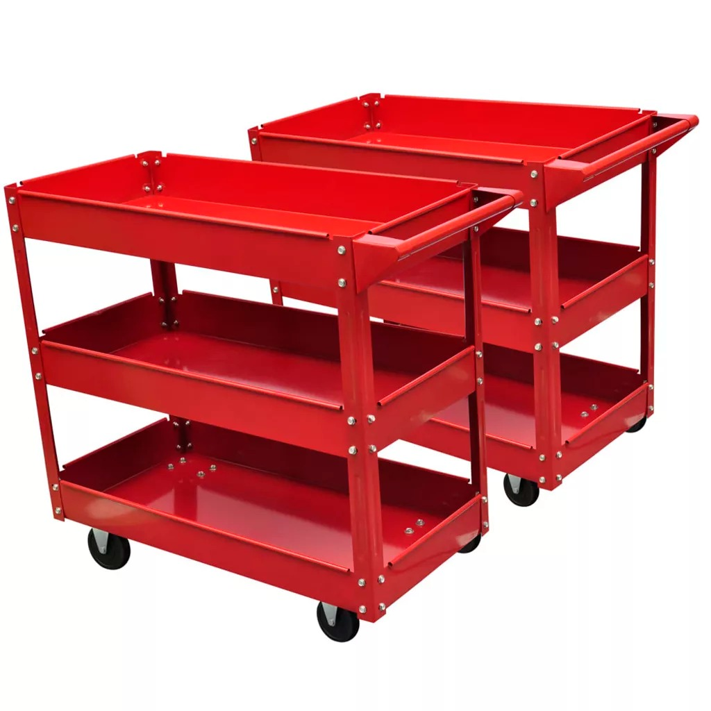 2 X Workshop Tool Trolley 100 Kg Maximum Load Capacity 3 Shelves Trolley Convenient Handle For Pushing 840 X 410 X 780 Mm V3