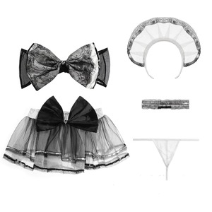 Image 5 - Anime Cosplay Costume Cute Lolita Dress Bowknot Bra Set Erotic Erotic Maid Uniform Sexy Kawaii Lingerie Set Outfit for Woman