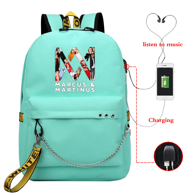 Marcus And Martinus School Bags For Students Back To School Usb Charging Shoulder Backpack Large Capacity Teenager Bagpack Bag