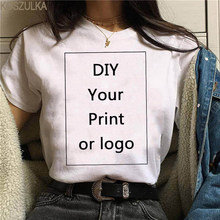 Camiseta Harajuku para mujer, Camiseta con estampado de logotipo personalizado, Tops blancos informales, camiseta de manga corta Unisex