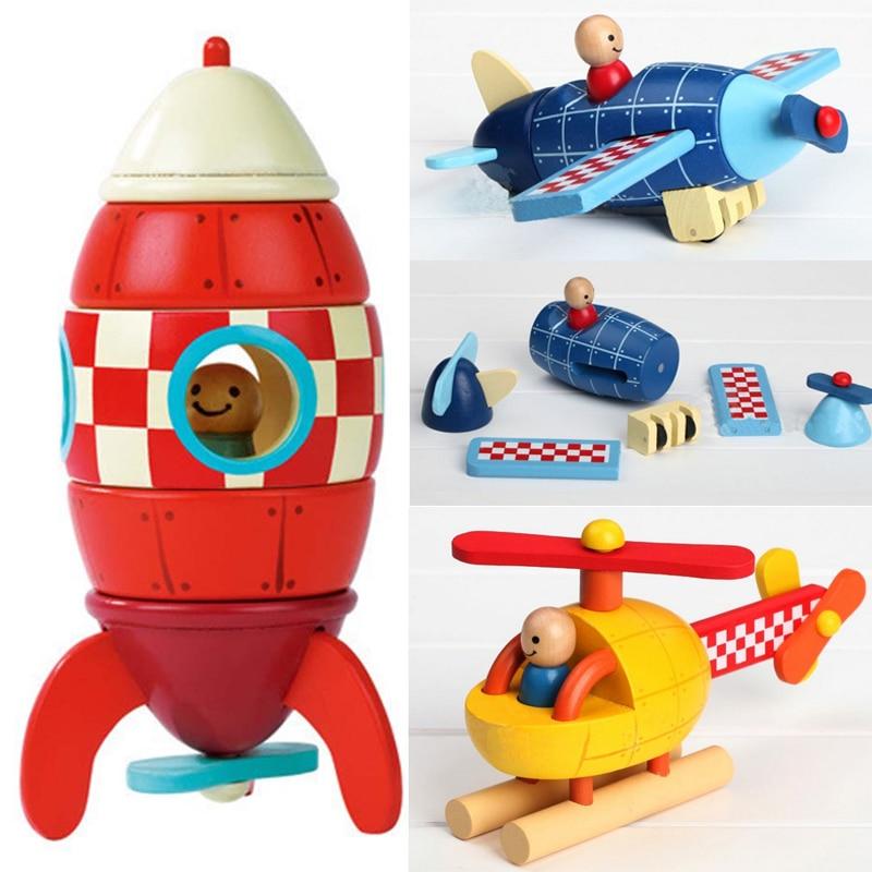 Деревянные 3D игрушки для демонтажа, разборка в сборе, вертолет, головоломка в форме ракеты, Магнитные деревянные Обучающие игрушки, игрушки для автомобилей