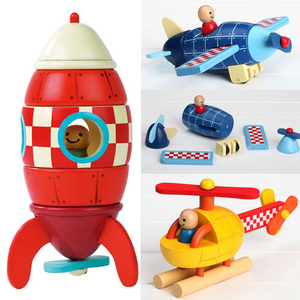 Wood 3D Toys Removal Disassembly Assembly Helicopter Rocket Puzzle Toys Magnetic Wood Educational Toys Diecasts & Toy Vehicles(China)