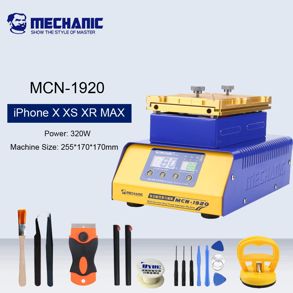 MECHANIC MCN-1920 LCD Glass Screen Separator Machine Double Vacuum Pump For IPhone X XS XR MAX Border Heated Separation Degluing