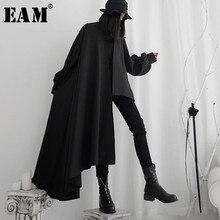 [EAM] Trench asimmetrico nero da donna di grandi dimensioni nuovo risvolto manica lunga vestibilità ampia giacca a vento moda primavera autunno 2021 19A-a556
